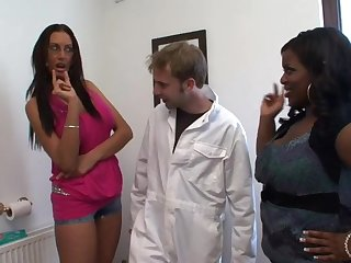 Video of a skinny dude getting pleasured by Chardonnay and Emma Butt