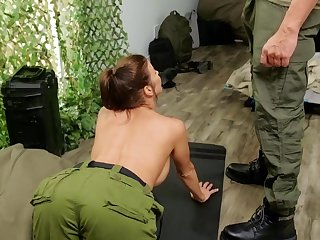 Hardcore butt fucking in the army ends with a facial for Alexis Fawx