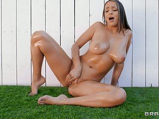 Naked babes try soft scissoring before sharing cock together