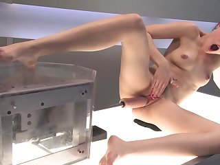 Petite chick Sasha Grey is being drilled with a fucking machine