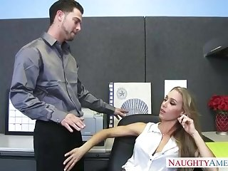Bad cougar in tights, Nicole Aniston enjoys to take her colleague's rigid knob, while in the office