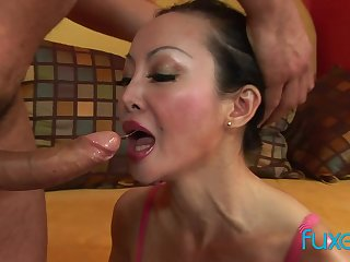 Asian MILF Angie Venus anal fucking with an increment of deep ass to mouth sucking