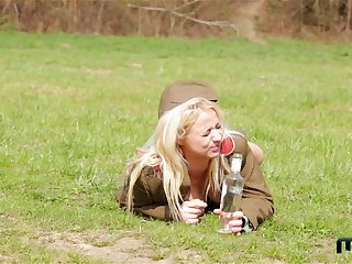 Horny teen lesbian soldiers Chrissy Fox and Bambi Bell pussy licking