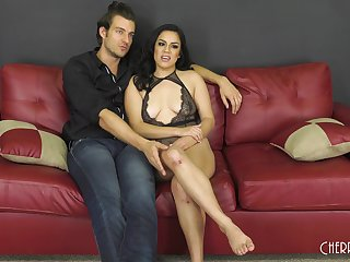 Monica Sage strips and fills her mouth and pussy with hard cock
