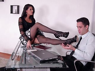 Office doggy style sex and cumshot on feet of Coco de Mal