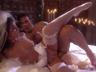Fresh bride India Summer gets a hardcore first wedding night sex