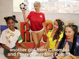Lusty Colombian hottie Amaranta Hank has invited chicks for lesbian 4some