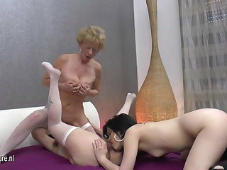 Three Old-and-Young lesbians hard sex