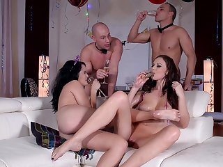 Wild party leads the horny wives to insane sex