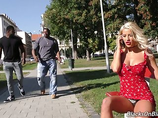 Complete whore with big boobs Sienna Day is fucked by two huge black strangers