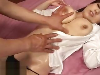 Busty Japanese in stockings got tits fucked