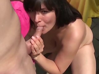 Hairy Wife Let Her Neighbor Cum Inside On Backyard