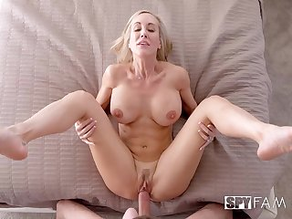 Over 50 cougar with meaty cunt and big tits takes a young cock