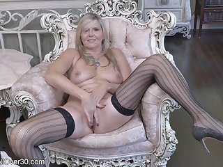 Horny GILF In Sexy Stockings Rubs Her Muff Making Me Cum!