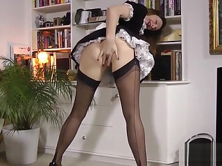 French maid milf fingered