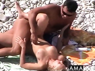 Voyeur on public beach. Hot young couple sex4